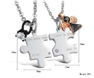 Stainless Steel Forever Love Puzzle Charm Wedding Couple Necklaces