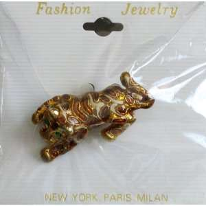 Fashion BROOCH PIN Crouching TIGER Gold Tone & Enamel PIN