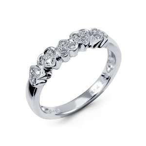 NEw 14k White Gold Diamond Heart Fancy Anniversary Ring