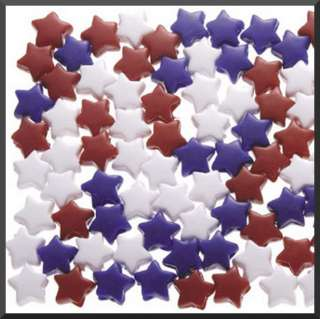 Patriotic Beads 1/2 12mm Red White Blue Kids Crafts Jewelry ABCraft