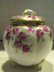 Antique Pre Nippon Biscuit/Craket Jar H. P. Roses Moriage