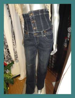 Womens Indigo DARK DENIM Ultra High Waist Button Fly CORSET JEANS