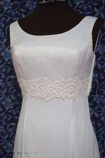 Ivory Satin & Chiffon Backless Wedding Dress sz 8 NWOT
