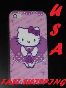PURPLE & WHITE HARD BACK HELLO KITTY CASE IPHONE 4 4S + SCREEN