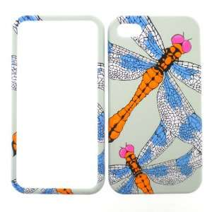 Apple iPhone 4G 4 G 4S 4 S Orange Blue Pink Dragonfly Insects White