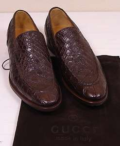 GUCCI SHOES $1690 DARK BROWN CROCODILE SKIN LOGO LOAFER 10 43e NEW