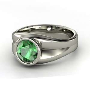 Akira Ring, Round Emerald 14K White Gold Ring Jewelry