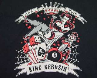 TIMELESS KING KEROSIN MANS RUIN TATTOO ROCKABILLY PIN UP T SHIRT Mens