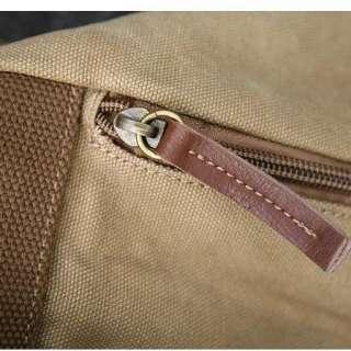 Khaki Rucksack Backpack Canvas Bag School Hiking Travel