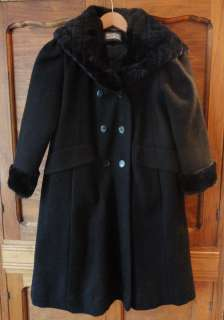 ROTHSCHILD Winter Coat Girls Size 8 Dress Wool Black Hooded Faux Fur