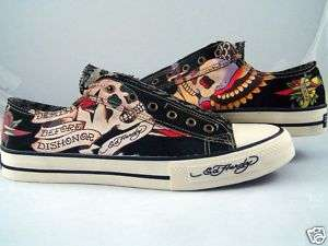 Mens Ed Hardy Death Before Dishonor Black Shoes Sneaker