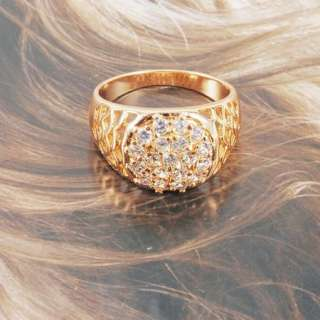 18K Yellow Gold Filled Womens Crystal Ring Sz8 Free 2012 New Design