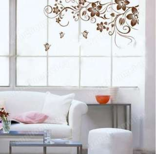 Large Flower Butterfly Removable PVC Wall Sticker Home Decor Art Decal
