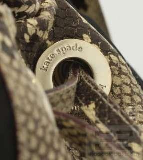 Kate Spade Black Nylon & Beige Snake Embossed Drawstring Shoulder Bag