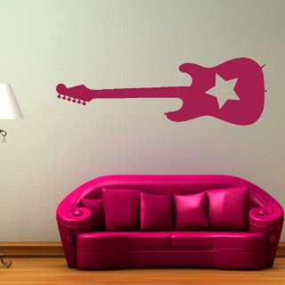 ROCKSTAR GUITAR ROCK + ROLL WALL STICKER DECAL NEW giant stencil vinyl