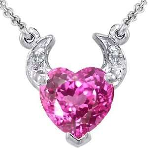 Gold Plated Created Pink Sapphire Heart Devil 18 Neclace By Devorah