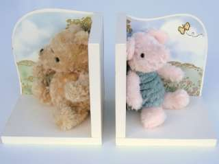 Nursery 2 Bookends Baby Girl Boy Plush Bear Pig Ivory