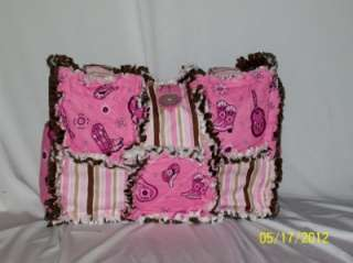 Boots Hat Western Stripes Pink Rag Quilt Diaper Bag Tote Purse