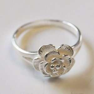 Rose Flower Ring White 925 Sterling Silver Size 7  N
