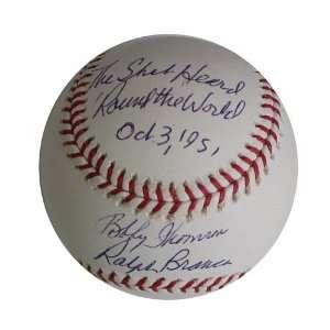 Ralph Branca and Bobby Thomson Autographed Baseball   Shot Heard
