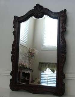 Vintage French Carved Oak Wood Framed Beveled Mirror