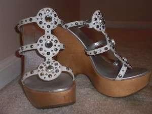 Report Signature White Rhinestone Platform Wedge Shoes