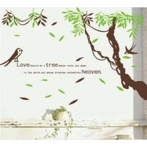 Leaves with Quote Wall Sticker Decal for Kids Room Living Room Baby