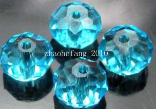 100pc Aquamrine Cubic Zirconia Crystal Beads 6x4 mm#04