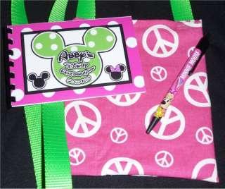 PINK & LIME DISNEY MICKEY PEACE Autograph Book/Bag/Pen