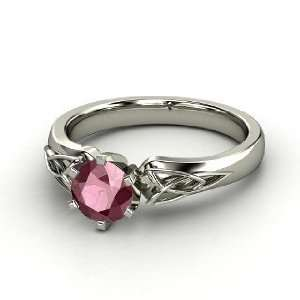 Fiona Ring, Round Rhodolite Garnet Platinum Ring Jewelry
