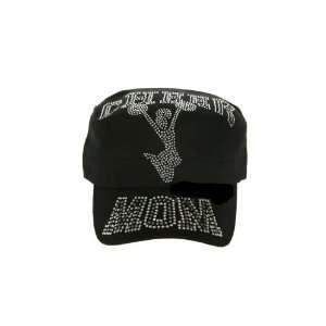 Black Cadet Style Rhinestone Studded Cheer Mom Hat