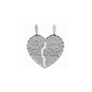 Sterling Silver BEST FRIENDS Heart Charm Pendant with 2 chains   18