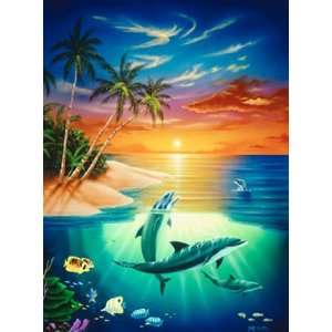 Dolphins paradise 8ft x 13ft wall mural environmental graphics for Dolphins paradise wall mural