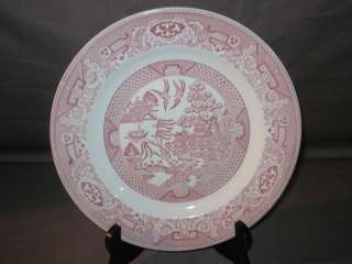 Vintage Red Pink & White Royal China Willow Ware Dinner Plate