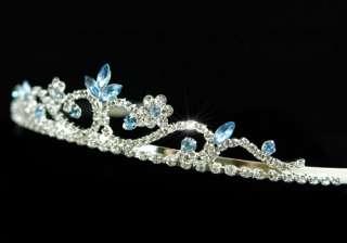 Blue Crystal Rhinestone Prom Bridal Wedding Tiara T1200