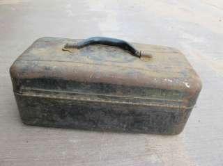 Vintage Fishing Tackle Box Metal Black Toolbox Tool Box Case Old