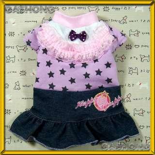 Dog Clothing E166,Lace&Ribbon Denim Dress Jean Skirt