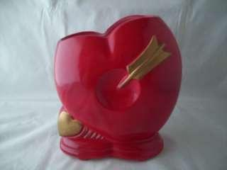 Red HEART Shaped Planter Nancy Pew Design VINTAGE Neat