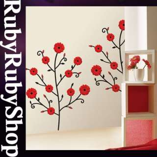 SWST 02 RED FLOWER WALL PAPER DECAL DECO MURAL STICKER