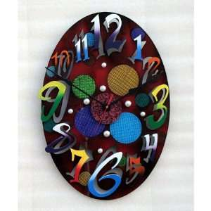 Small Modern Oval Red Wall Clock Home & Kitchen