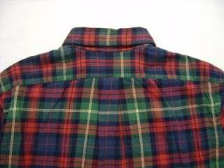 Mens Polo Ralph Lauren PONY Flannel L Shirt Button Green Red Navy