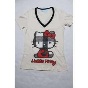 Licensed Hello Kitty Girls V  Neck T Shirt   MEDIUM