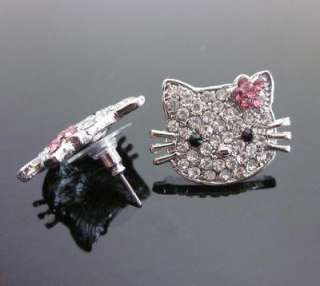 Large Hello Kitty KT Crystal Pink earring earbob #E15