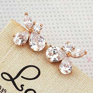 6MM Dazzing CZ 9K Rose Gold Filled Earrings E121