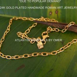HANDMADE LINK CHAIN DESIGNER BY OMER 24K YELLOW GOLD OVER STERLING