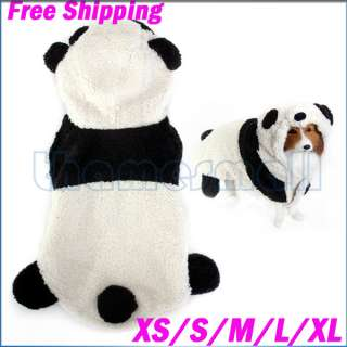 Dog Puppy Pet Coat Costume Outfit Cute Panda Hoodie Hooded Jumpsuit XS