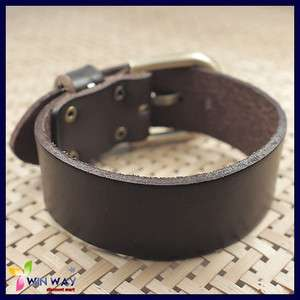 New Cuff Wrist Fashionable Punk Rock Mens Brown Surfer Buckle Leather