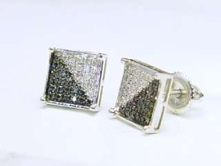 100% 10K White Gold Black & White Diamond Micro Pave Earrings Square
