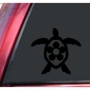 Flower Honu Hawaiian Sea Turtle Black Vinyl Decal Sticker Automotive