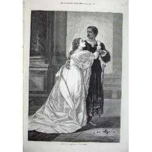 1874 Othello Desdemona Man Woman Romance Herrick Art
